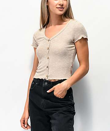 629bc08931 Almost Famous Cory Button Oatmeal Crop Top
