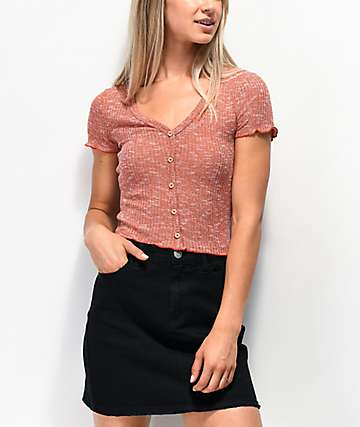 0f9d89b446 Almost Famous Cory Button Rust Crop Top