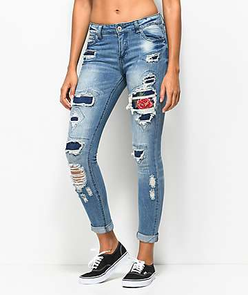 Almost Famous Dara Distressed Rose Skinny Jeans
