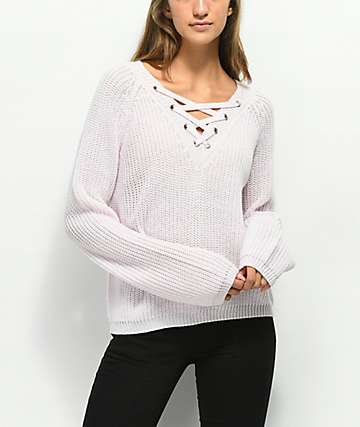 Almost Famous Darla Lace Up Pink Sweater