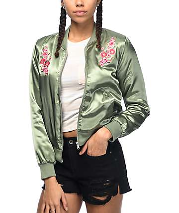 Almost Famous Double Floral Olive Bomber Jacket