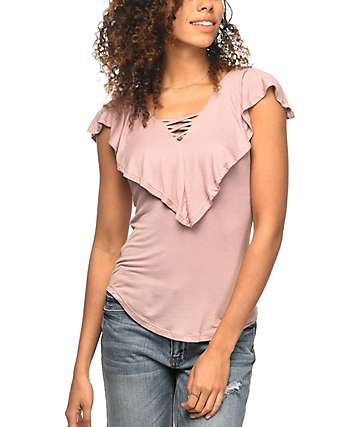Almost Famous Effie Ruffle Mauve V-Neck Top