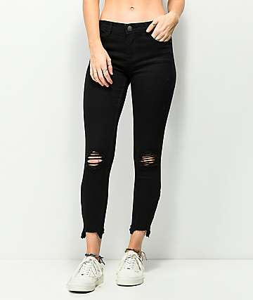 Almost Famous Fray Zip Hem Midrise Crop Black Jeans