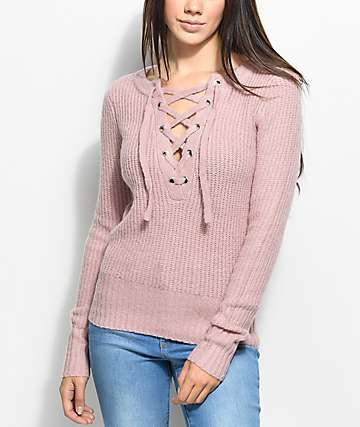 Almost Famous Gwen Lace Up Mauve Sweater