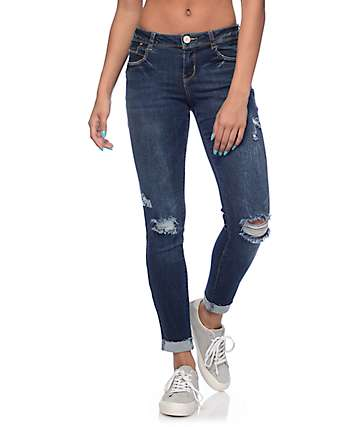 Almost Famous Jana Dark Wash Destroyed Anklet Skinny Jeans