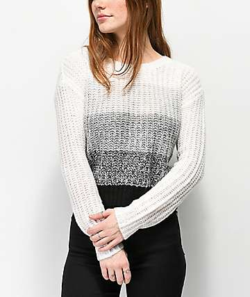 Almost Famous Jess Black, White & Grey Striped Sweater