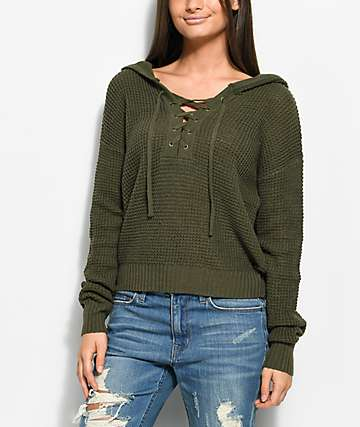 Almost Famous Karlie Lace Up Olive Hooded Sweater