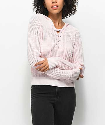 Almost Famous Karlie Lace Up Pink Hooded Sweater 9b9bf014e