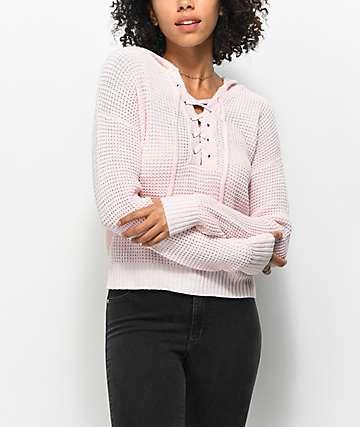 Almost Famous Karlie suéter en rosa con detalle anudado con capucha