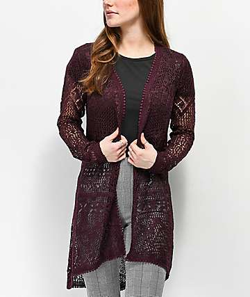 Almost Famous Lacey Burgundy Duster Cardigan
