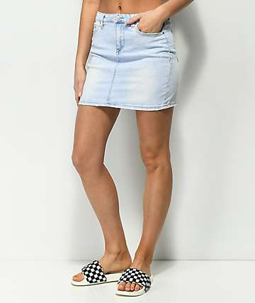 Almost Famous Light Wash Denim Skirt