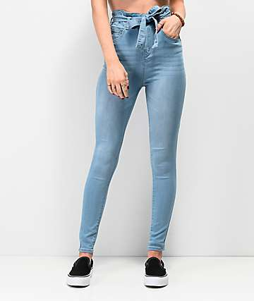 Almost Famous Light Wash Paper Bag Super High Waist Skinny Jeans