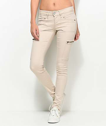 Almost Famous Liz Khaki Cargo Zip Pocket Skinny Pants