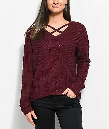 Almost Famous Max suéter cruzado en color borgoño