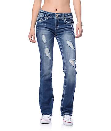 Almost Famous Medium Blue Embroidered Flap Pocket Boot Cut Jeans