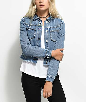 Almost Famous Medium Wash Cut Off Denim Jacket