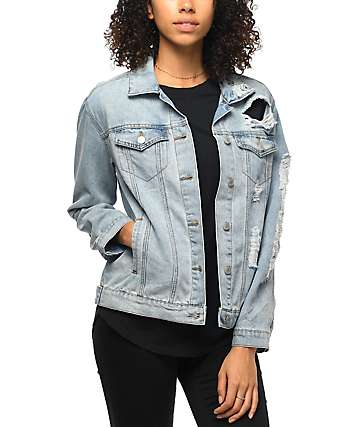 Almost Famous Medium Wash Shredded Denim Boyfriend Jacket