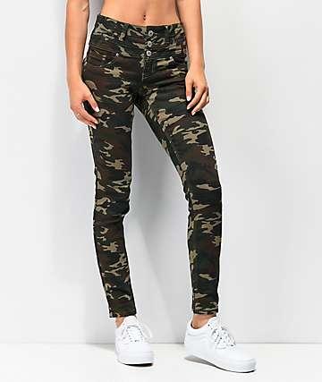 38ffbd296c Almost Famous Mid Rise Camo Denim Skinny Jeans