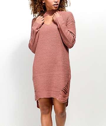 Almost Famous Mock Choker Neck Mauve Sweater Dress