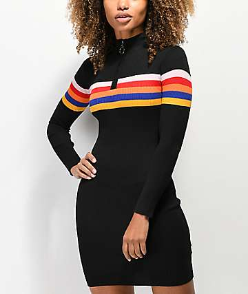 Almost Famous Multi-Stripe Black Sweater Dress