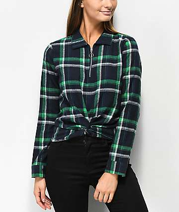 Almost Famous Nara Green Plaid Crop Quarter Zip Knot Shirt
