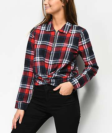 Almost Famous Nara Red Plaid Crop Quarter Zip Knot Shirt