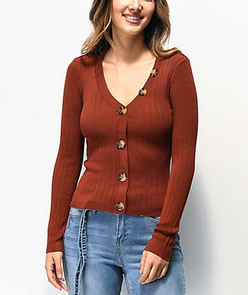 Almost Famous Nora Burgundy Ribbed Cardigan