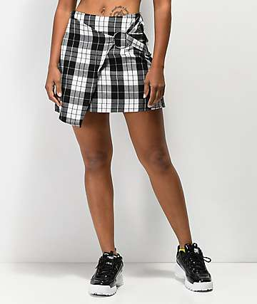 Almost Famous O-Ring Black Plaid Mini Skirt
