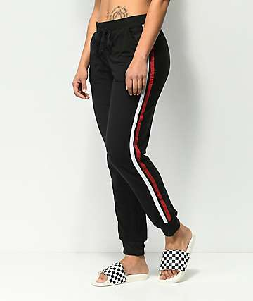 Almost Famous Peached pantalones jogger a rayas en negro y rojo
