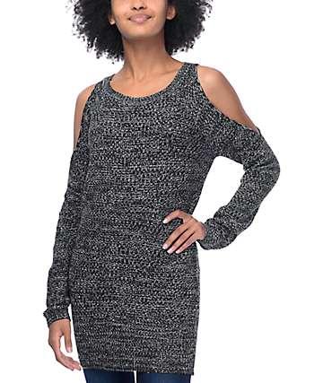 Almost Famous Peggy Coldshoulder suéter negro