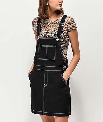 b66beb40456 Almost Famous Pop Stitching Black Denim Overall Dress