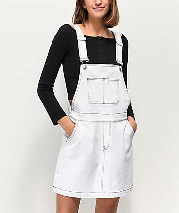 Almost Famous Pop Stitching White Denim Overall Dress