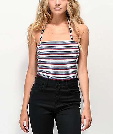 Almost Famous Red, White & Blue Stripe Tube Bodysuit