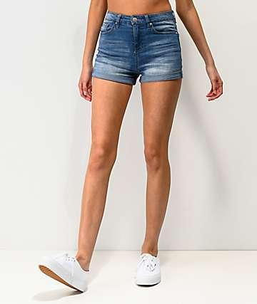 Almost Famous Roll Cuff Medium Wash Denim Shorts