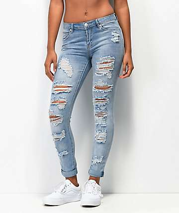 Almost Famous Roll Up Light Wash Skinny Jeans