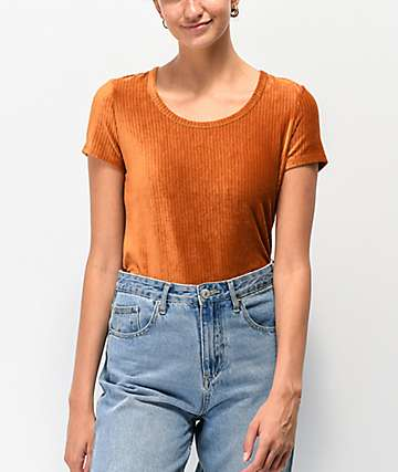 Almost Famous Rust Scoop Neck Ribbed Velvet Top