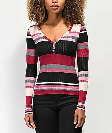 Almost Famous Sandra camiseta borgoña de rayas