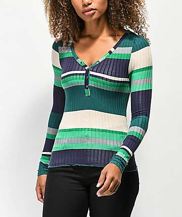 Almost Famous Sandra camiseta verde de rayas