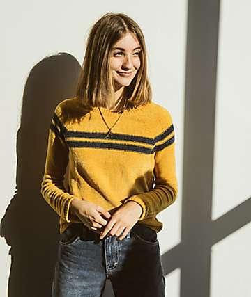 Almost Famous Sandy suéter de rayas amarillas