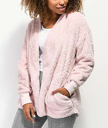 Almost Famous Sherpa Blush Hooded Cardigan
