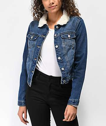 d09ebeb366a Almost Famous Sherpa Lined Blue Denim Jacket
