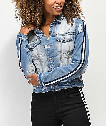 Almost Famous Striped Sleeve Denim Jacket