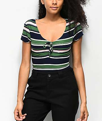 Almost Famous Taylor Striped Green & Blue Rouched Top