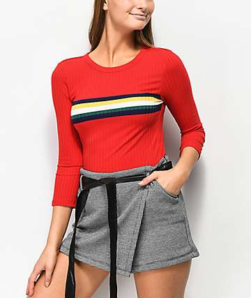 Almost Famous Tommi Place Stripe Red Top