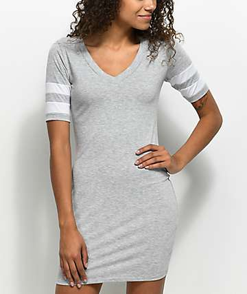 Almost Famous Varsity Light Grey T-Shirt Dress
