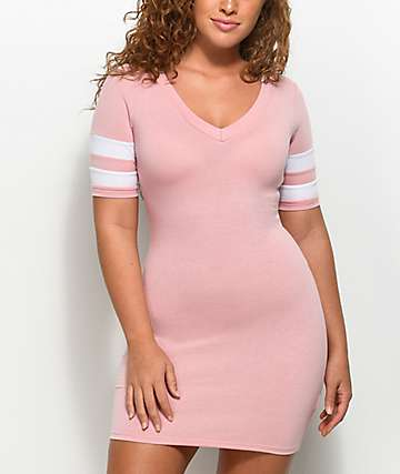Almost Famous Varsity Light Pink T-Shirt Dress