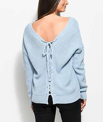 Almost Famous Wren suéter en azul claro con cordones