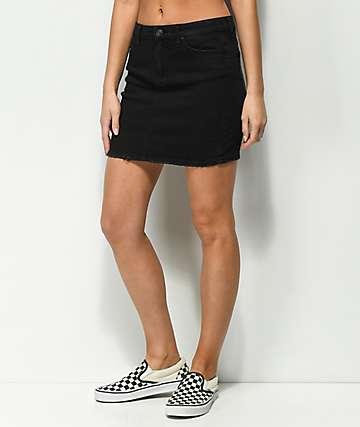 Almost Famous falda negra de mezclilla