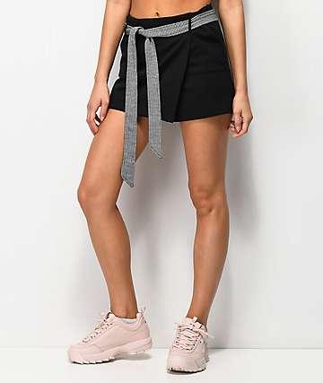 Almost Famous falda pantalón de vichy con cinturón