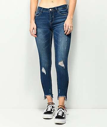 Almost Famous jeans pitillo deshilachados con cremalleras